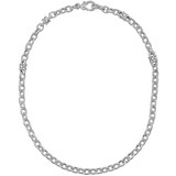 "18k White Gold & Diamond ""Estate Country"" Link Necklace"