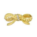 18k Gold & Diamond Bow Pendant Brooch