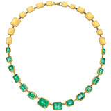 22k Gold & Emerald Riviere Necklace