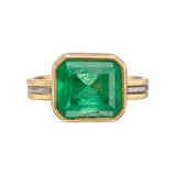 22k Gold, Silver & Emerald Solitaire Ring