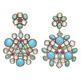 "​Multicolored Gemstone ""Kaleidoscope"" Double Drop Earclips"