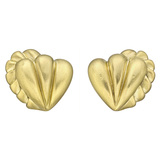 18k Yellow Gold Heart Earclips