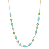 18k Yellow Gold & Multicolored Gemstone Necklace