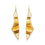 "18k Gold Montana Agate & Diamond ""Aura"" Earrings"