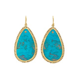 18k Gold & Turquoise Slice Micro-Halo Earrings