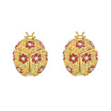 Multi-Colored Sapphire & Diamond Ladybug Earrings