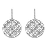 Large ​Diamond Circular Criss-Cross Drop Earrings