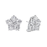 Large Diamond Flower Cluster Earclips (~5 ct tw)