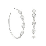 Mixed-Cut Diamond Hoop Earrings