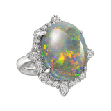 Large Opal & Diamond Cluster Cocktail Ring