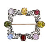 Late Victorian Multicolored Gemstone & Diamond Brooch