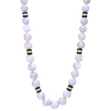 Lavender Jade, Onyx & Diamond Bead Necklace