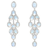 Long Moonstone & Diamond Chandelier Earrings