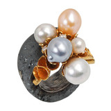 Multicolored Baroque Pearl, 18k Gold &amp; Hematite &quot;Bubbles&quot; Ring