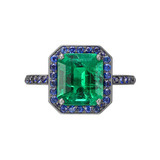 2.45 Carat Colombian Emerald & Sapphire Ring