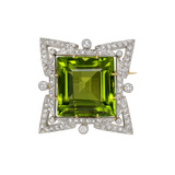 Peridot & Diamond Star Motif Pin