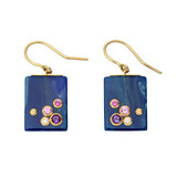 """Juno"" Gem-Set Blue Bakelite Drop Earrings"
