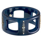 """Amanda-5"" Marbled Blue Bakelite & Gemstone Bangle"