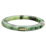 """Jane"" Gem-Set Green Marbled Bakelite Bangle"