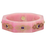 "Collector ""Bollywood"" Pink Bakelite & Amethyst Bangle"