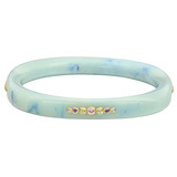 """Cornelia"" Gem-Set Light Blue Marbled Bakelite Bangle"