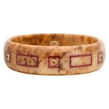 Light Brown & Burgundy Inlay Bakelite Bangle with Spessartite