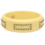"""Coco"" Ivory Bakelite Bangle with Peridot"