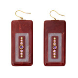 """Cardea"" Gem-Set Burgundy & Lavender Bakelite Drop Earrings"