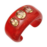 """Charis"" Red Bakelite Bangle with Yellow Beryl"