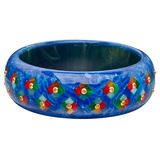 ​Dark Blue & Multicolored Inlay Bakelite Bangle with Yellow Sapphire