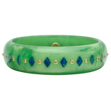 Light Green & Dark Blue Inlay Bakelite Bangle with Yellow Sapphire