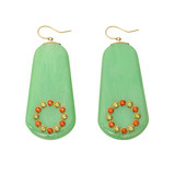 """Europa"" Gem-Set Green Bakelite Drop Earrings"