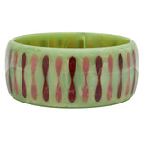 Light Green Bakelite Bangle with Red & Pink Inlay