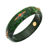 """Jane"" Gem-Set Green Bakelite Bangle"