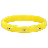 """Jane"" Gem-Set Yellow Bakelite Bangle"