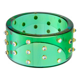 """Josephine"" Green Bakelite Bangle with Blue Topaz"
