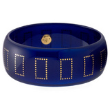 """Lafayette"" Blue Bakelite Bangle with 18k Gold Inlay"