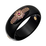 """Larissa"" Gem-Set Black Bakelite Bangle"