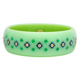 Light Green & Blue Inlay Bakelite Bangle with Yellow Sapphire