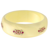 """Lili"" Gem-Set White Bakelite Bangle"