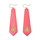 """Lulu"" Bright Pink Bakelite & Gem-Set Drop Earrings"