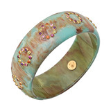 """Chloris"" Marbled Blue Gem-Set Bakelite Bangle"