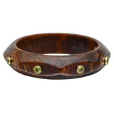 """Octavia"" Marbled Brown Bakelite & Peridot Bangle"