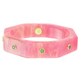 """Octavia"" Pink Bakelite Bangle with Tsavorite"
