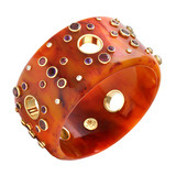 """Olga"" Gem-Set Burnt Orange Bakelite Bangle"