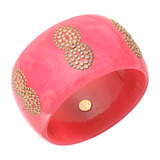 &quot;Oriana&quot; Gem-Set Pink Bakelite Cuff Bracelet