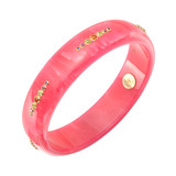 """Jane"" Gem-Set Bright Pink Bakelite Bangle"