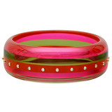 """Sydney"" Pink & Green Bakelite Bangle with Diamond"