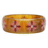 Tortoise & Multicolored Flower Inlay Bakelite Bangle with Pink Sapphire