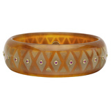 Tortoise & Caramel Inlay Bakelite Bangle with Pink Sapphire